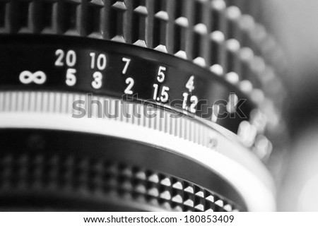 Detail of Vintage camera.Black and white. - stock photo