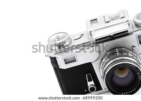 Detail of vintage rangefinder film camera isolated on white