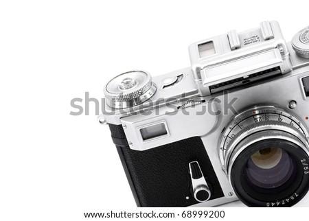 Detail of vintage rangefinder film camera isolated on white - stock photo