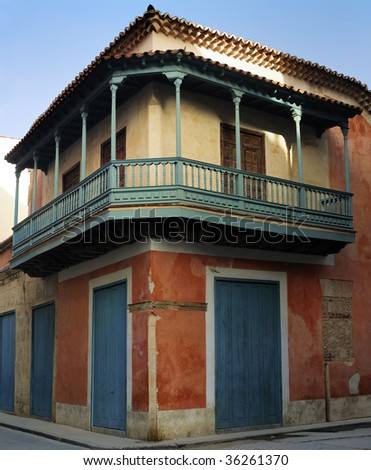 Detail of vintage typical old havana building - stock photo