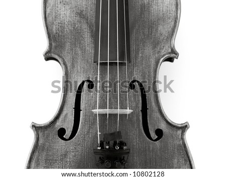 detail of violin, black and white - stock photo