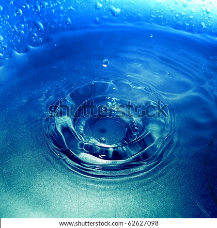 detail of water drop falling into water surface. Beautiful nature. - stock photo