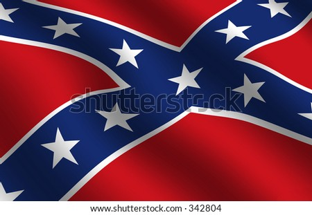 Detail of waving confederate flag - stock photo