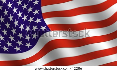 Detail of Waving stars and stripes. - stock photo