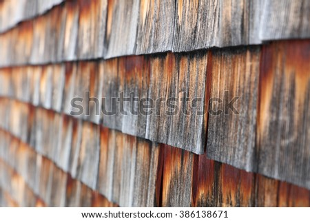 Detail of weathered wooden shingles - stock photo