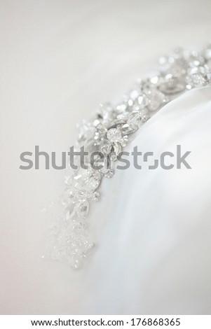 Detail of wedding dress - stock photo