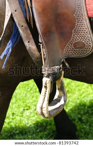 Detail of western style stirrup - stock photo