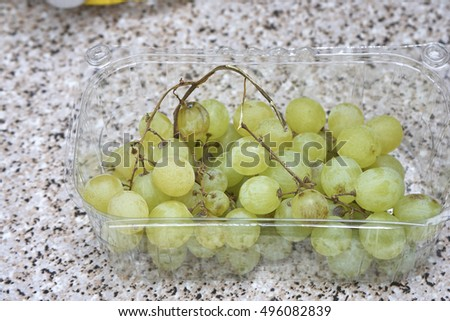 detail of white grapes in my house