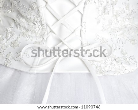 detail of white wedding dress