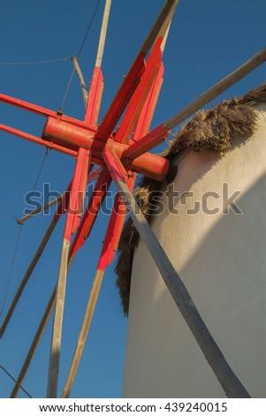 Detail of Windmill Mechanism in Mykonos Greece - stock photo