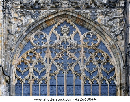 Detail Of Window Decoration The Gothic St Vitus Cathedral In Prague Czech Republic