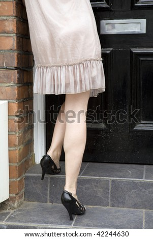 detail of woman wearing summer shoes go upstairs - stock photo