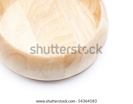 Detail of wooden bowl isolated on white background - stock photo