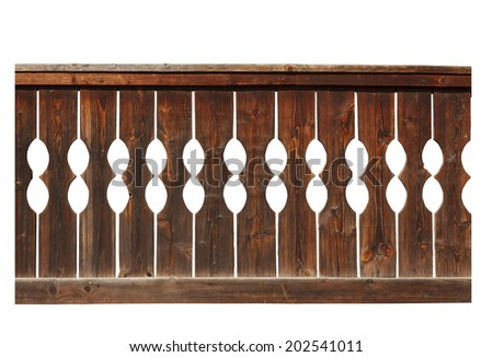 Detail of wooden fence isolated on white background - stock photo