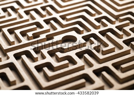 detail of wooden labyrinth, concept image  - stock photo