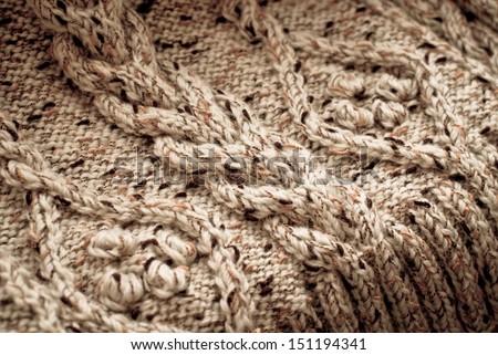 Detail of woven handicraft knit sweater - stock photo