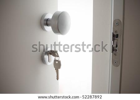 detail on a door handle - stock photo