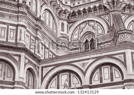 Detail on Facade of Duomo Cathedral Church, Florence, Italy in Black and White Sepia Tone