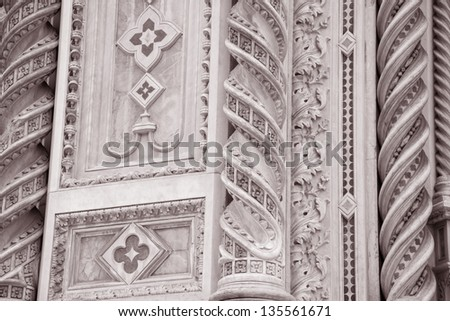 Detail on the Facade Doumo Cathedral Church, Florence, Italy in Black and White Sepia Tone