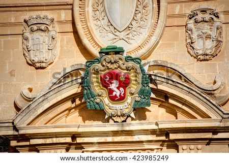 Detail on the front of the St. Peter & Paul Cathedral in the city of Mdina, in Malta - stock photo
