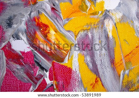 detail original artwork oil painting on stretched canvas for backdrop giclee texture - stock photo