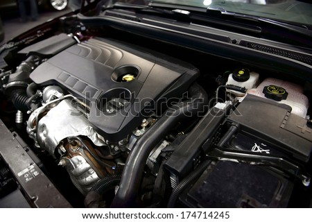 Detail photo of a clean car engine