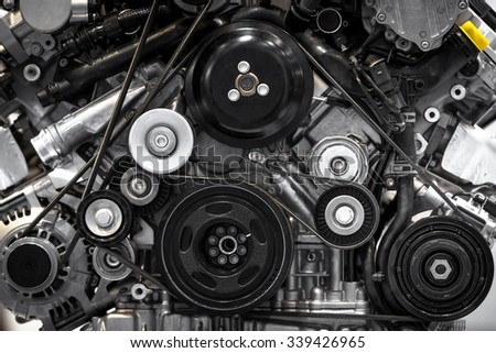 Detail photo of a clean car engine - stock photo