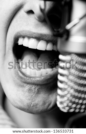 Detail Photo Of Musician Recording In Studio. - stock photo