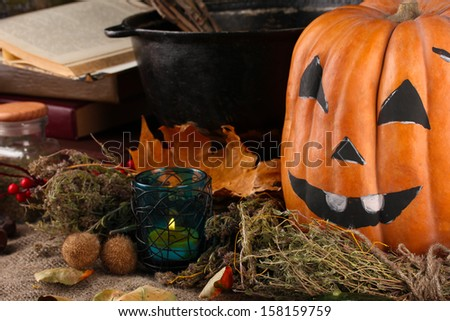 Detail photo of Scary halloween laboratory - stock photo