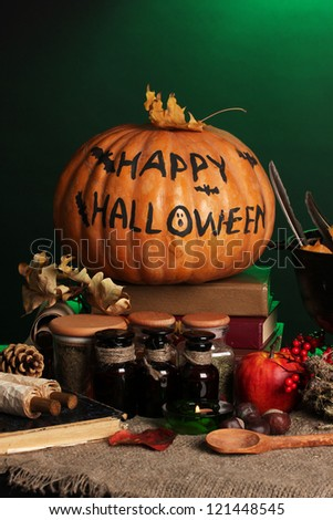 Detail photo of Scary halloween laboratory in green light