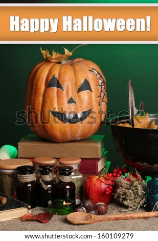 Detail photo of Scary halloween laboratory in green light - stock photo