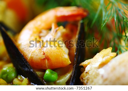 detail scampi paella - stock photo