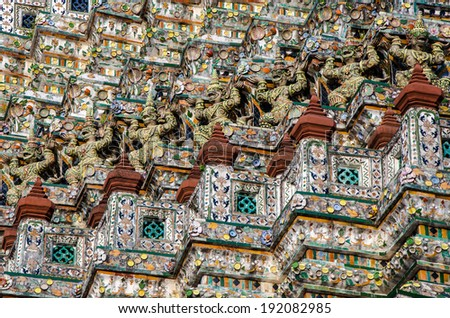 "Detail scene from  the  Buddhist temple WAT ARUN, the ""Temple of Dawn"" in Bangkok- Thailand. - stock photo"