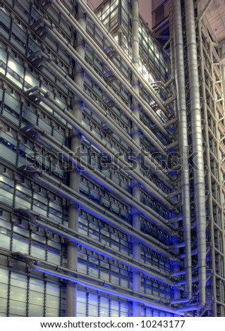 Detail section of the Lloyds Building in the City of London at Night - stock photo
