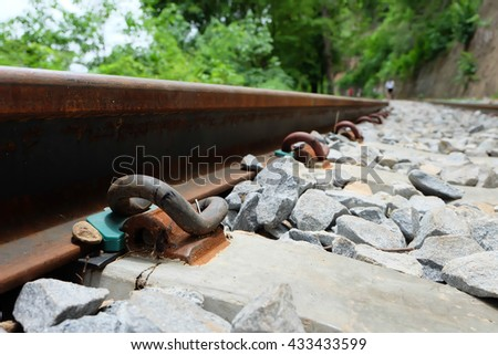 detail shot of a railroad track, Close-up railroad background.