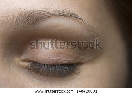 Detail shot of a young woman's closed eye