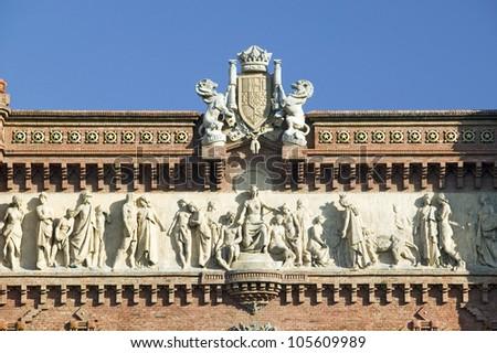 Detail shot of Arc de Triumf: L'Arc de Triumph, by Josep Vilaseca I Casanovas, in Barcelona, Spain was built in 1888 as part of the Universal Exposition - stock photo