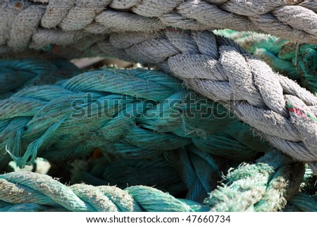 detail shot of blue and neutral rope - stock photo