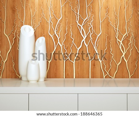 Detail shot of modern interior design. White furniture in front of wooden wall. - stock photo