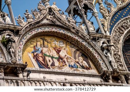 Detail shot of Saint Marks Basilica Venice Italy - stock photo