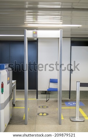Detail shot of unmanned airport metal detector - stock photo