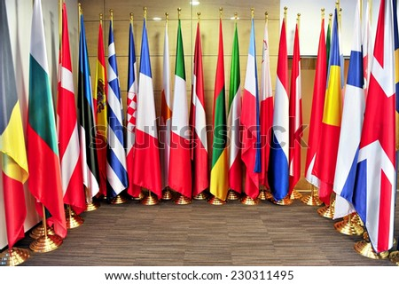 Detail shot with flags of the European Union member states - stock photo