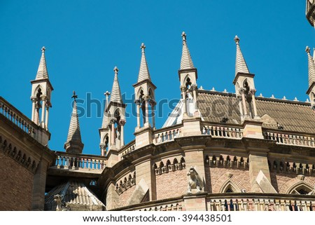 Detail take of a neo gothic church facade in Cordoba, Argentina - stock photo