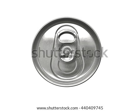 Detail top of metal can on isolated background