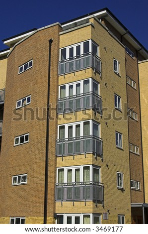 Detail view from a modern block of flats in London suburb, England - stock photo