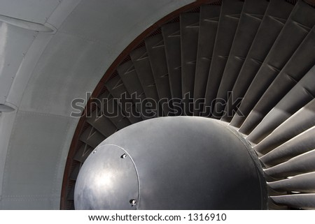Detail view of a 747 jets turbo-fan engine intake.
