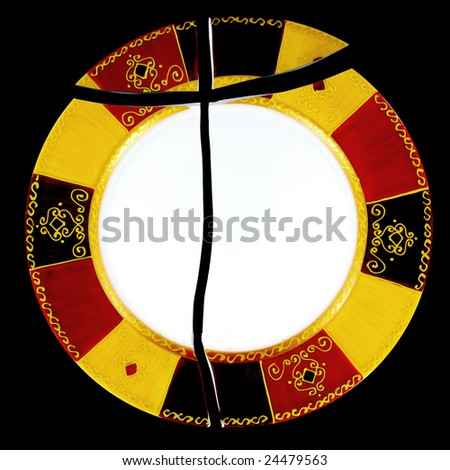 Detail view of a nice plate that has been broken. - stock photo