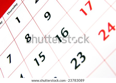 Detail view of a typical white calendar.