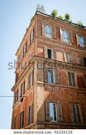 Detail view of an ancient house in rome, italy