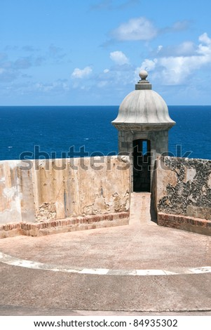 Detail view of an El Morro fort sentry tower and wall located in Old San Juan Puerto Rico. - stock photo